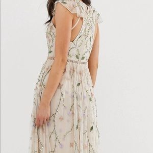 Floor length, embroider floral maxi dress